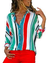 Shirt Collar Casual Striped Plus Size Shirt