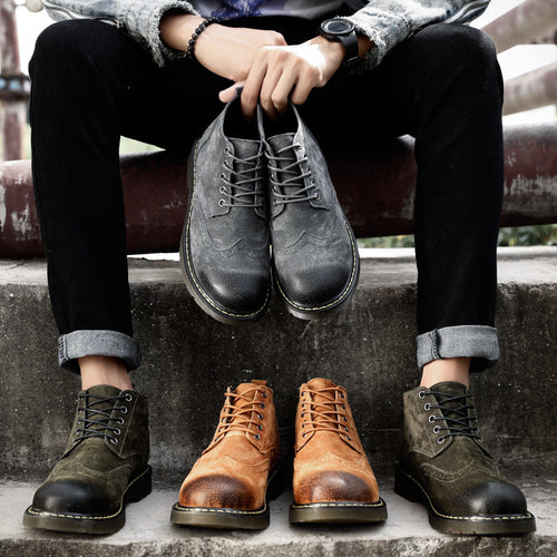 Autumn Winter Martin Leather Boots For Men