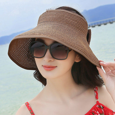 Women Foldable Bowknot Empty Top Wide Brim Beach Sun Straw Hat Outdoor Summer Travel Visor Cap