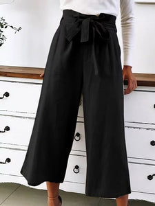 Bow Casual Plain Cotton Pants