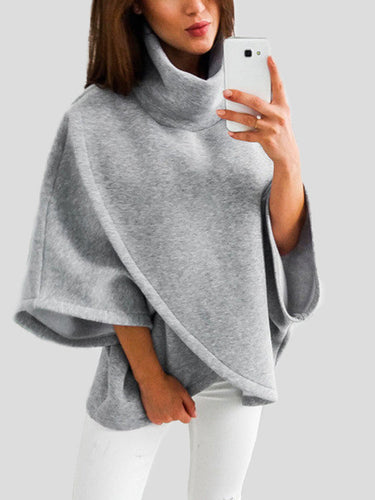 Grey Chimney Collar Flared Sleeves Irregular Hem Sweater Tops
