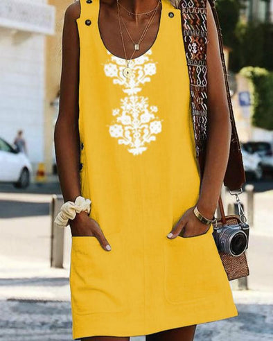 Crew Neck Women Dresses Shift Daily Boho Pockets Printed Dresses