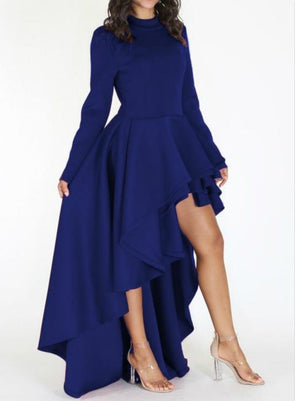 Women Plus Size Long Sleeve High Neck Back Zipper Irregular Ruffled Hem Dress