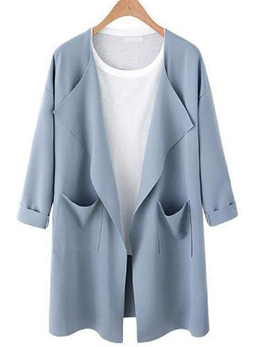 Long Sleeve Casual Plain Polyester Cardigan