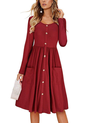 Women's Dresses Long Sleeve Casual Button Down Swing Midi Dress Pockets