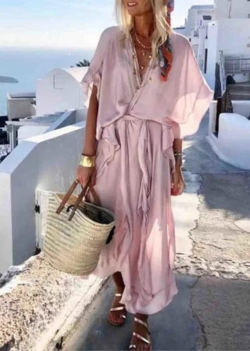 V neck Pink Women Summer Dress A-line Daily Slit Solid Dress