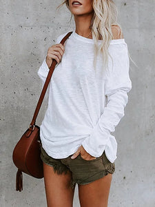 White Casual Solid Long Sleeve T-Shirt