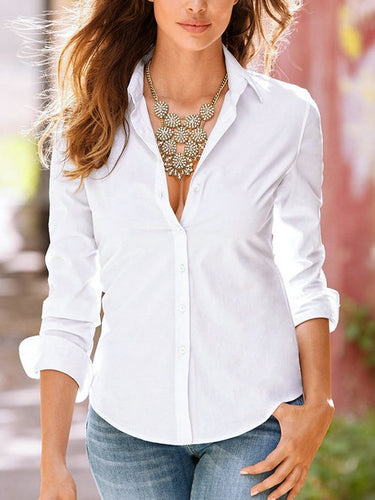 Lapel Collar Long Sleeves Shirts