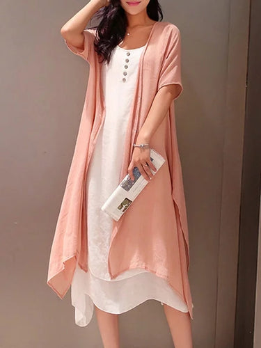 Two Piece Women Casual Half Sleeve Linen Buttoned Casual Dress