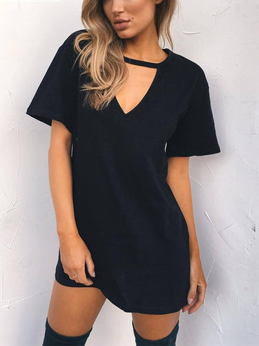 White V-neck Short Sleeves T-shirt Dresses