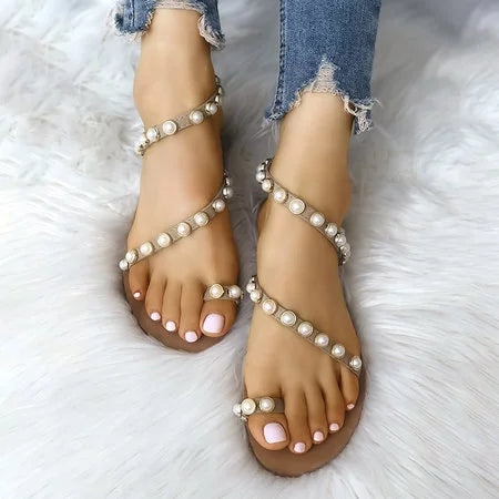 Beading Decorated Women PU Sandals Toe Ring Flat Shoes