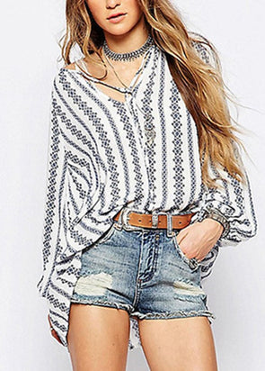 Women's Fashion Fall Long Sleeve Striped Tops V- Neckline Loose Fit Casual Blouse