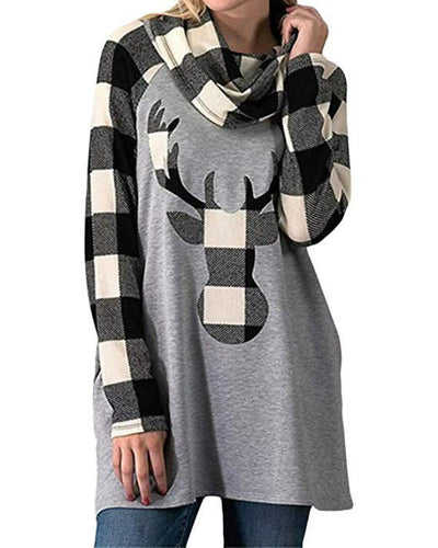 Christmas Fall Winter Plaid Long Sleeve Deer Head Print Blouse T-Shirt Tops