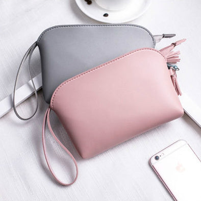 Women Pu Leather Solid Color Tassel Coin Bag Shell-Shaped Clutch
