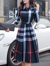 Shirt Collar Daily Casual Acetate Brushed Checkered/Plaid Midi Dress