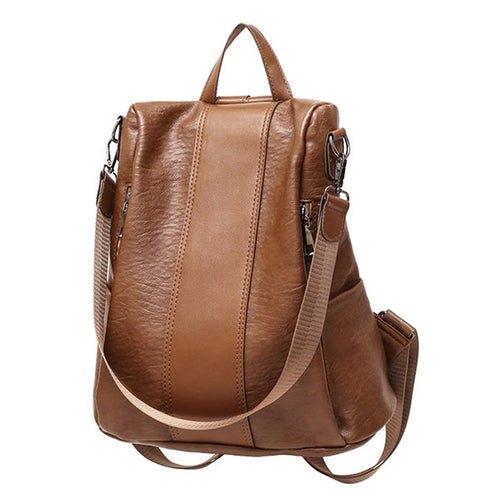 Women Leisure Large Capacity Travel Backpack Multi-function Soft Leather Shoulder Bag