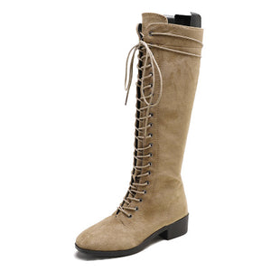 Suede Women Lace Up Above Knee Boots