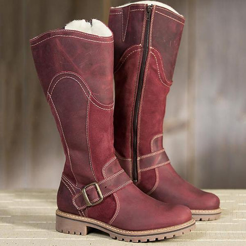 Womens Winter Zipper Fur Mid-calf Warm Boots