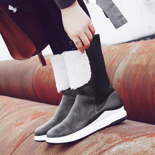 Women Winter Fur Mid-calf Snow Boots