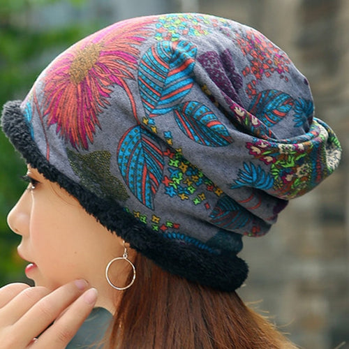 Womens Cotton Beanie Hat Vintage Good Elastic Warm Turban Scarf Caps