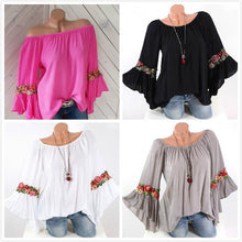 Bohemia Trumpet Sleeve Embroidery Blouses for Women