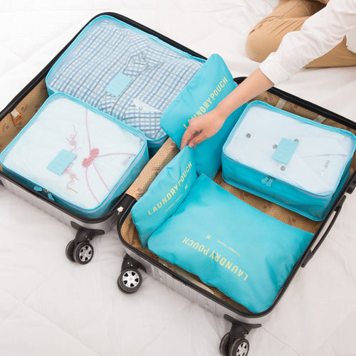 6Pcs Waterproof Nylon Luggage Organizer Storage Bag