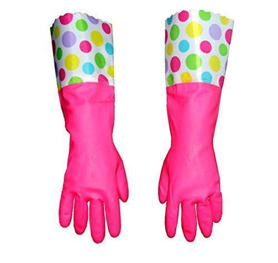 Household Cleaning Gloves ,Waterproof Pu Dish Washing Gloves Laundry Gloves (Flowers-04)