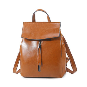 Mia Fashion Genuine Leather Front Zipper Backpacks