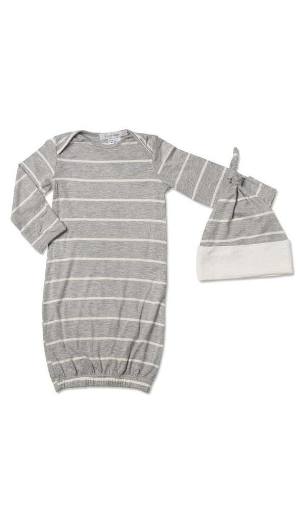 Gown Set in Heather Grey Stripe  - Doodlebug's Children's Boutique