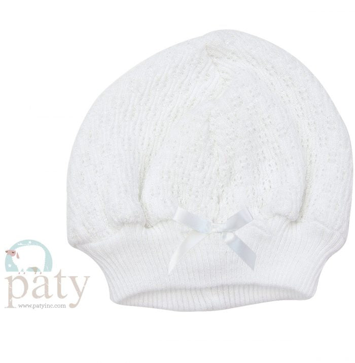 White Beanie Cap With Bow - Doodlebug's Children's Boutique
