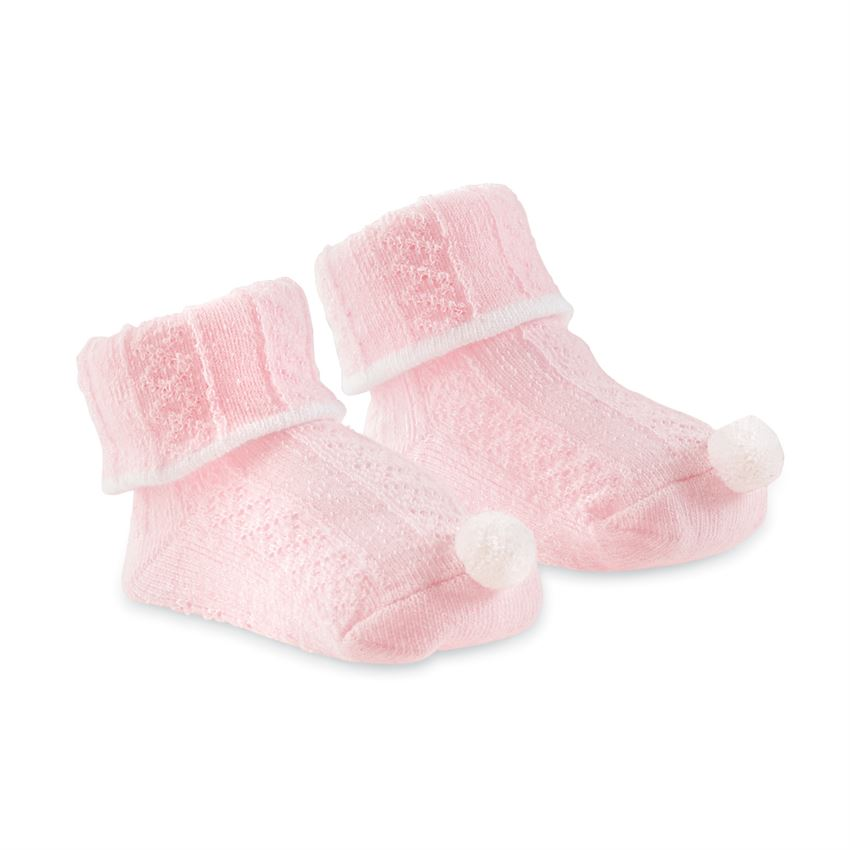 Pink Pom Cable Knit Socks  - Doodlebug's Children's Boutique