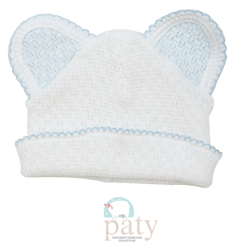 White Bear Cap with Blue Trim  - Doodlebug's Children's Boutique