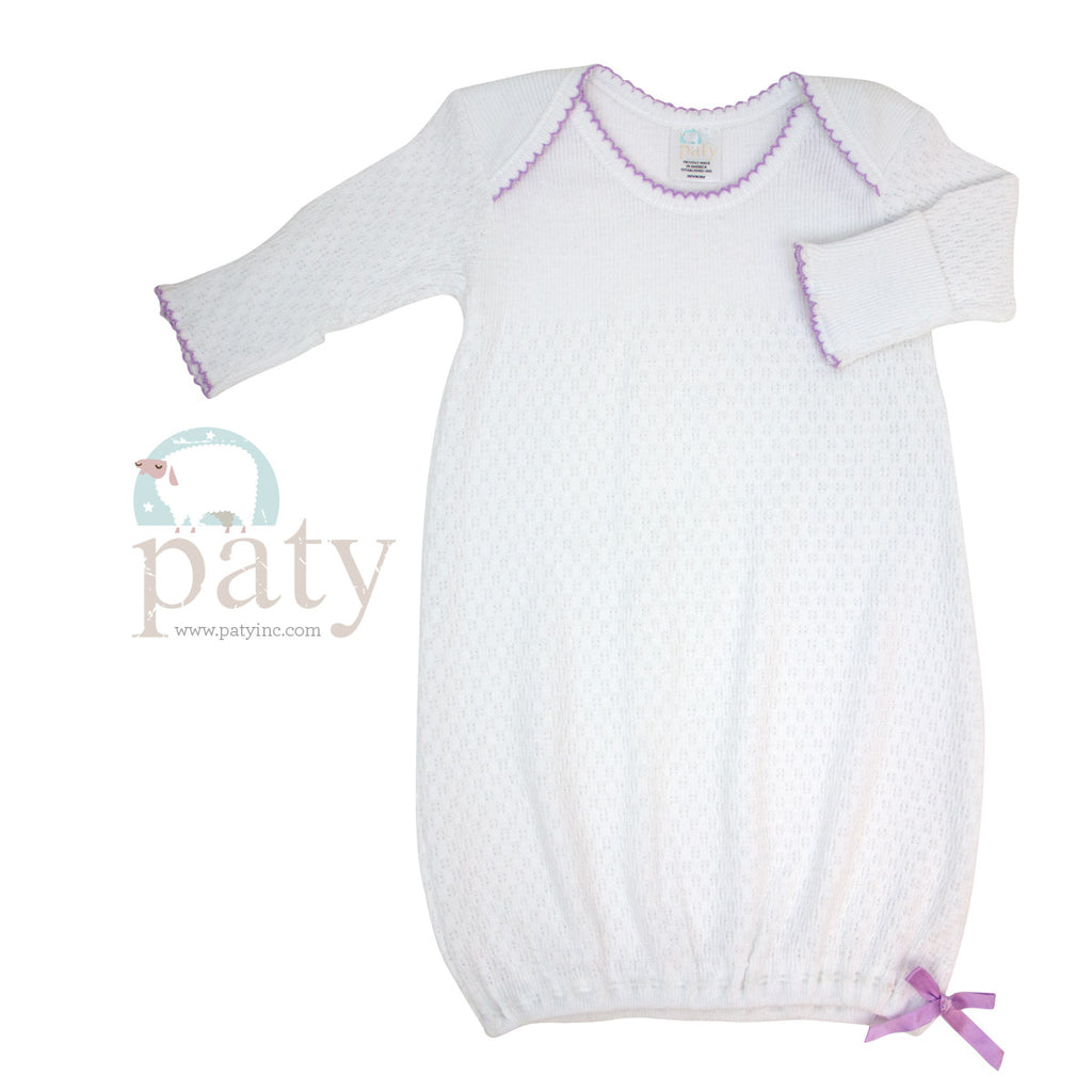 White Gown with Lavender Trim  - Doodlebug's Children's Boutique
