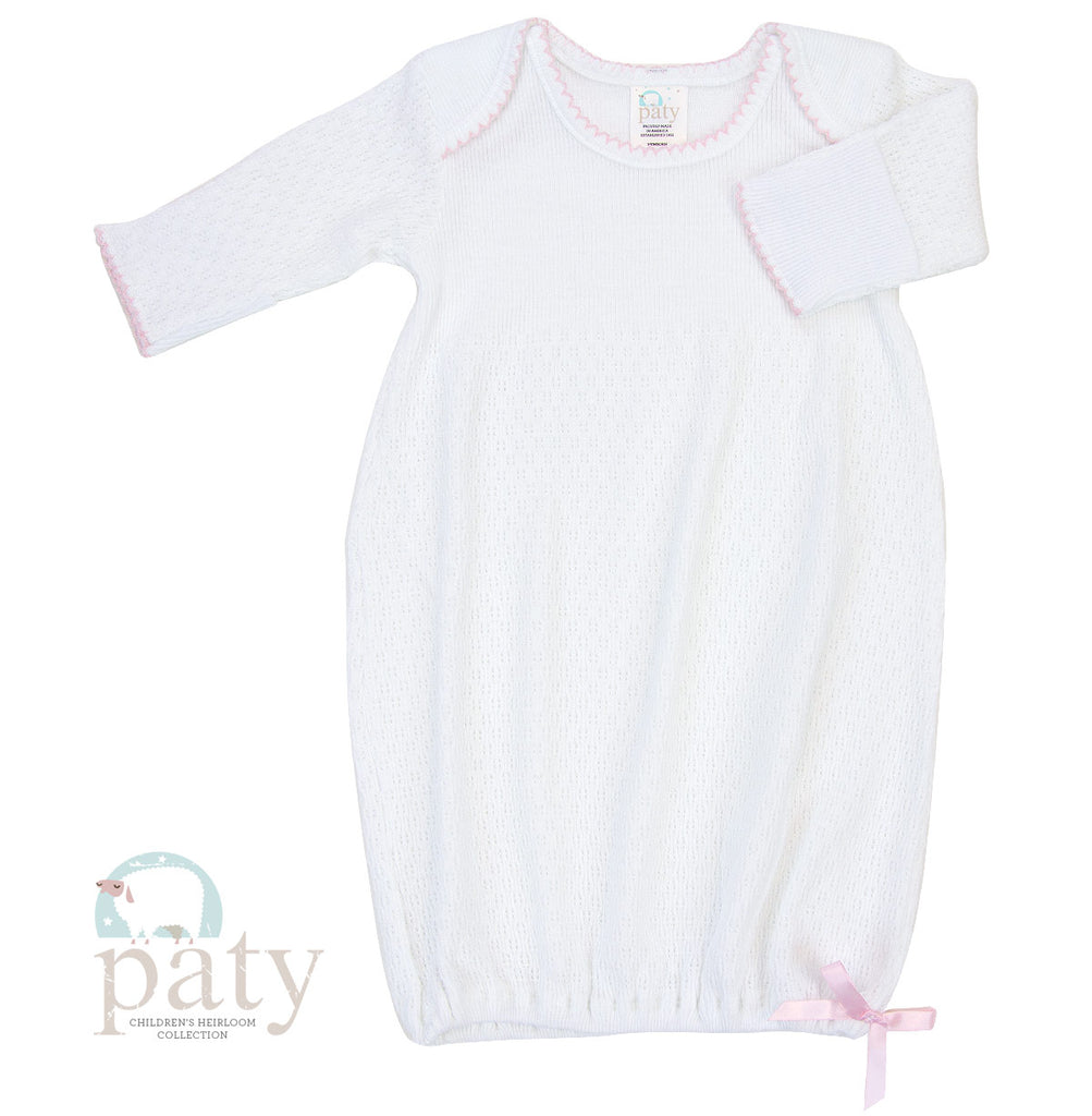 White Gown with Pink Trim Preemie - Doodlebug's Children's Boutique