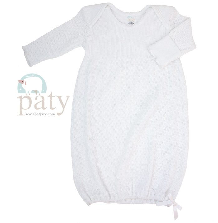 White Lap Shoulder Gown Preemie - Doodlebug's Children's Boutique