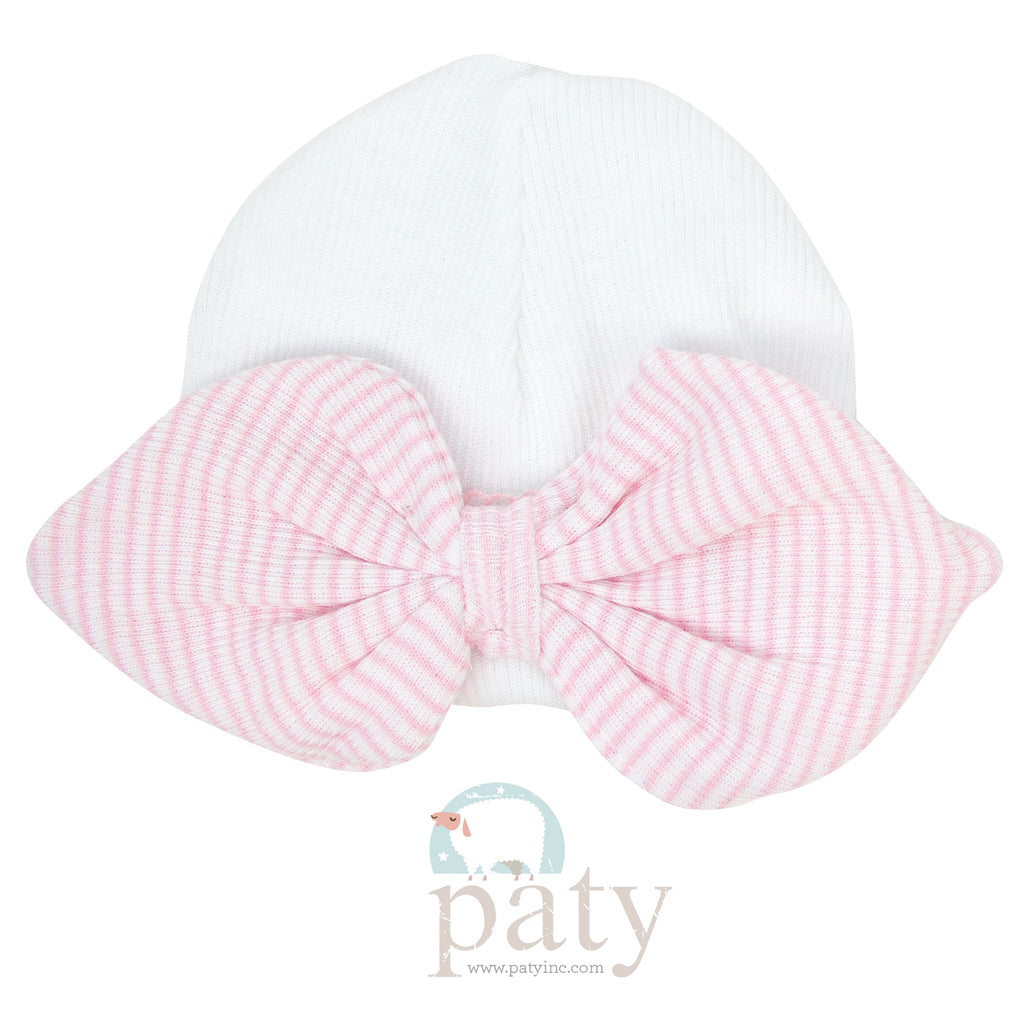 Pink Stripe Bow Beanie  - Doodlebug's Children's Boutique