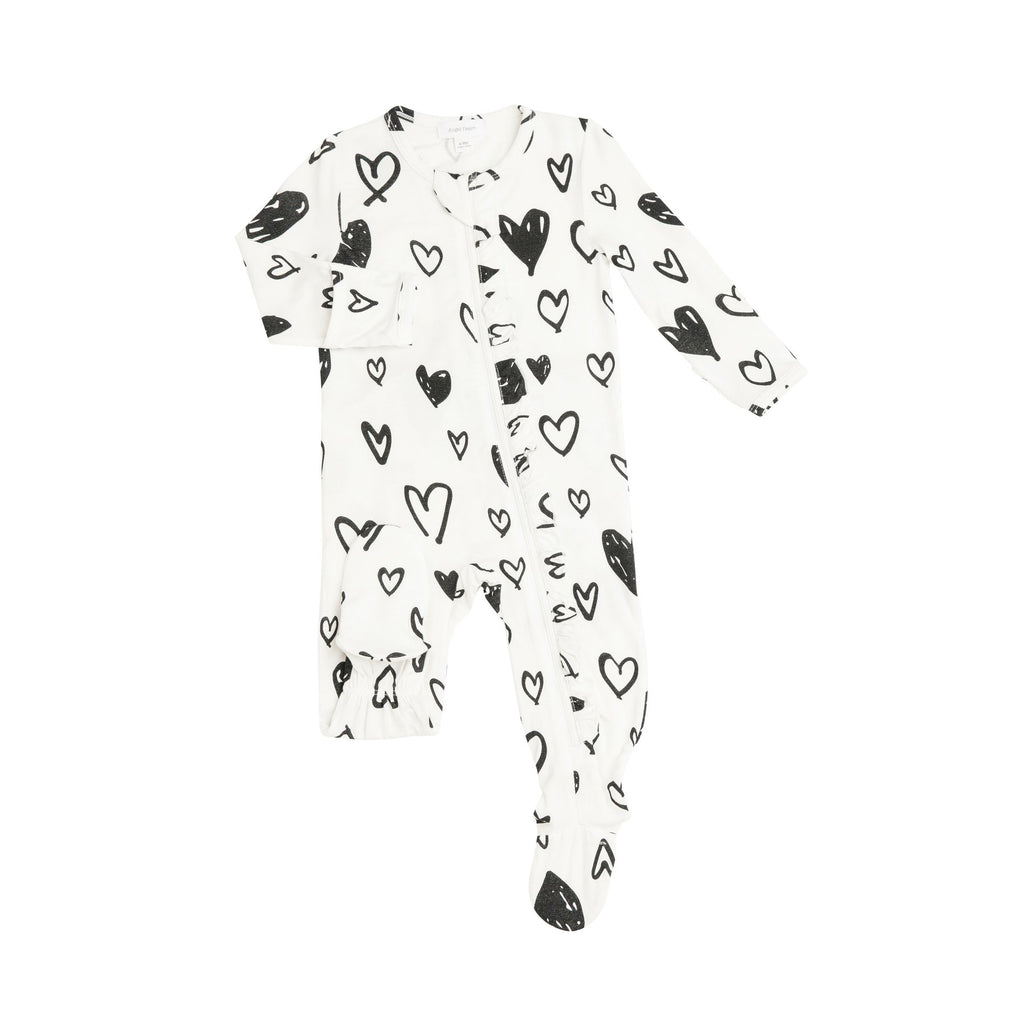 Ruffle Back Zipper Footie in Black and White Hearts  - Doodlebug's Children's Boutique