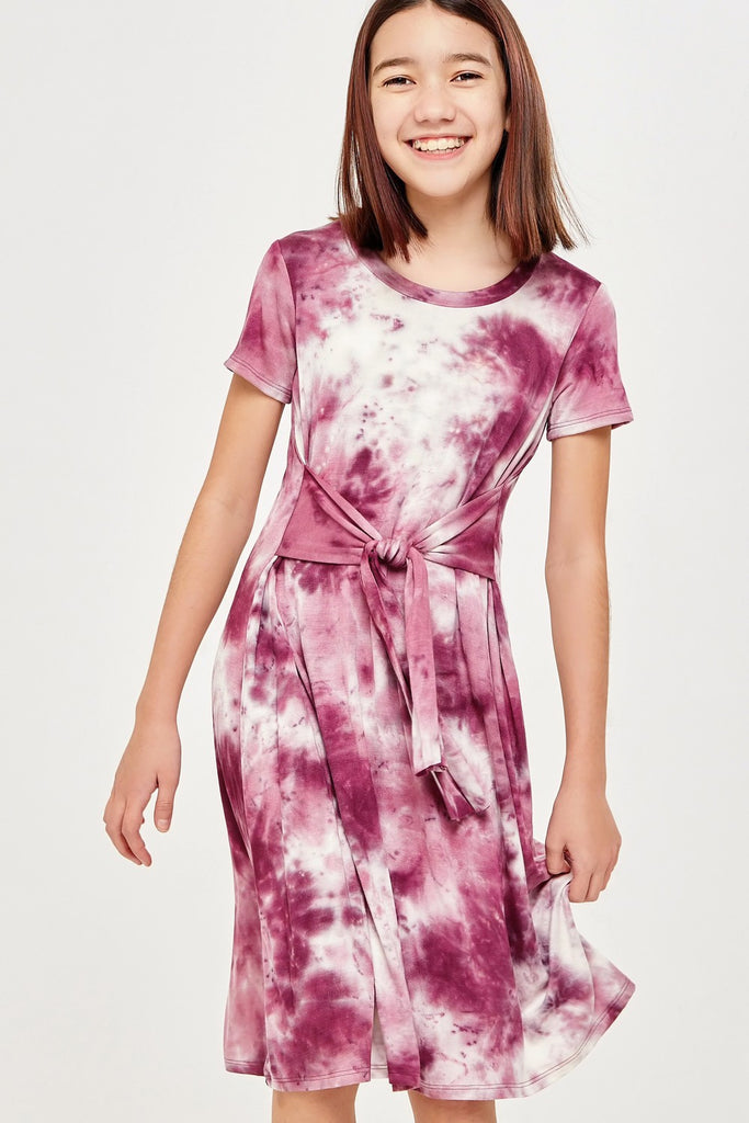 Tie Dye Waist Tied Midi Dress  - Doodlebug's Children's Boutique