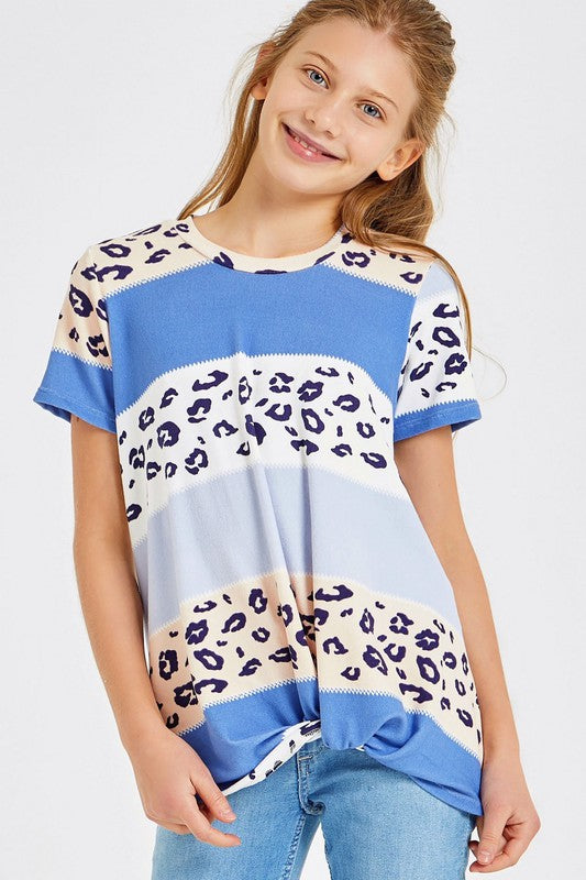 Color Block Leopard Knotted Top