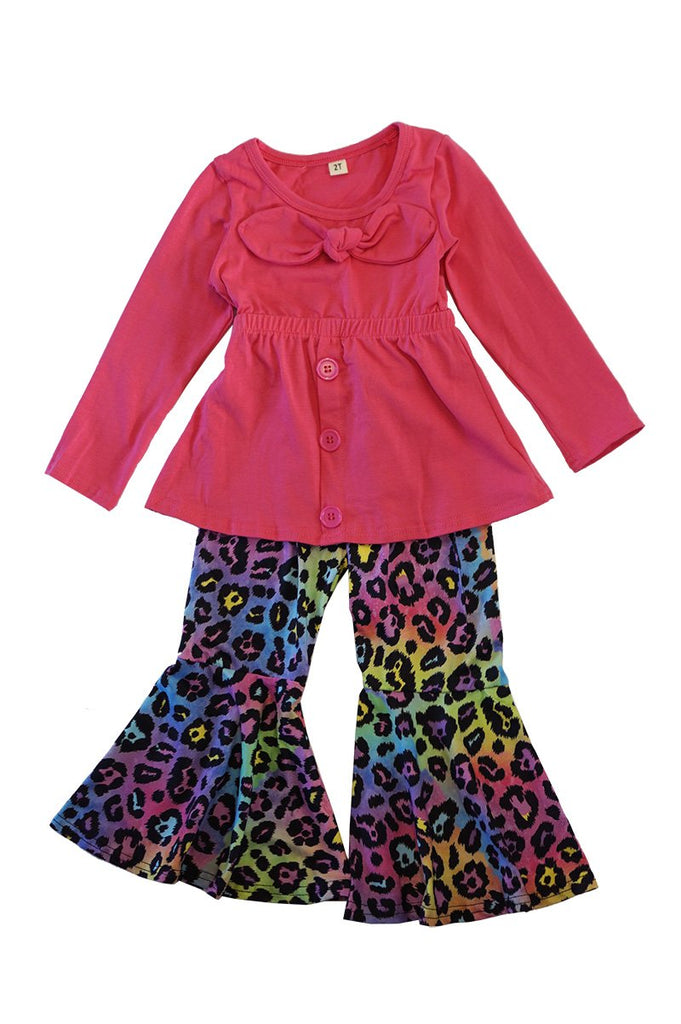 Bow Front Shirt with Leopard Bell Pants  - Doodlebug's Children's Boutique