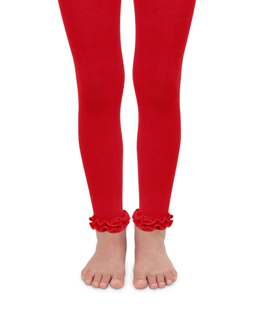 Footless Ruffle Tights in Red  - Doodlebug's Children's Boutique