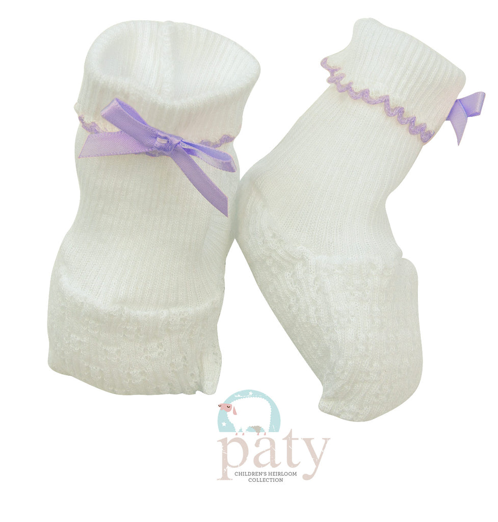 White Booties with Lavender Trim  - Doodlebug's Children's Boutique