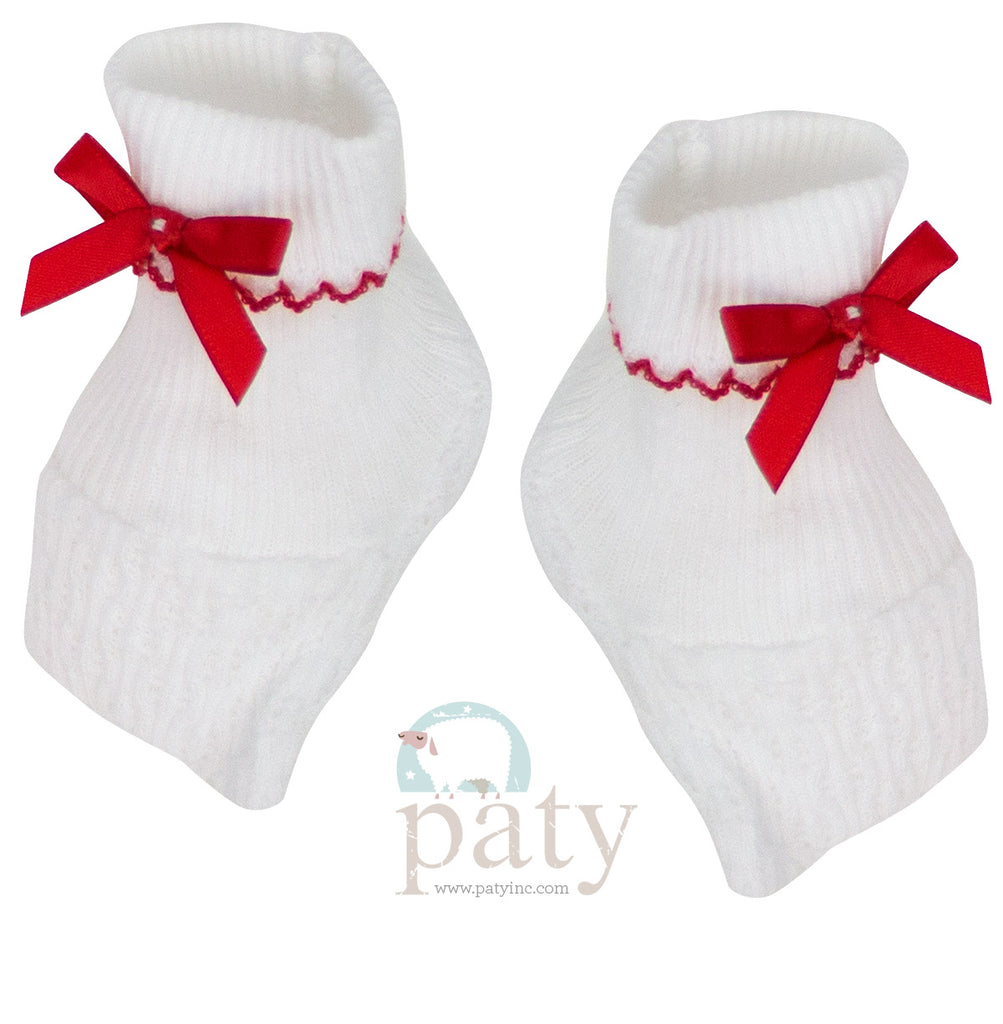 White Booties with Red Trim  - Doodlebug's Children's Boutique