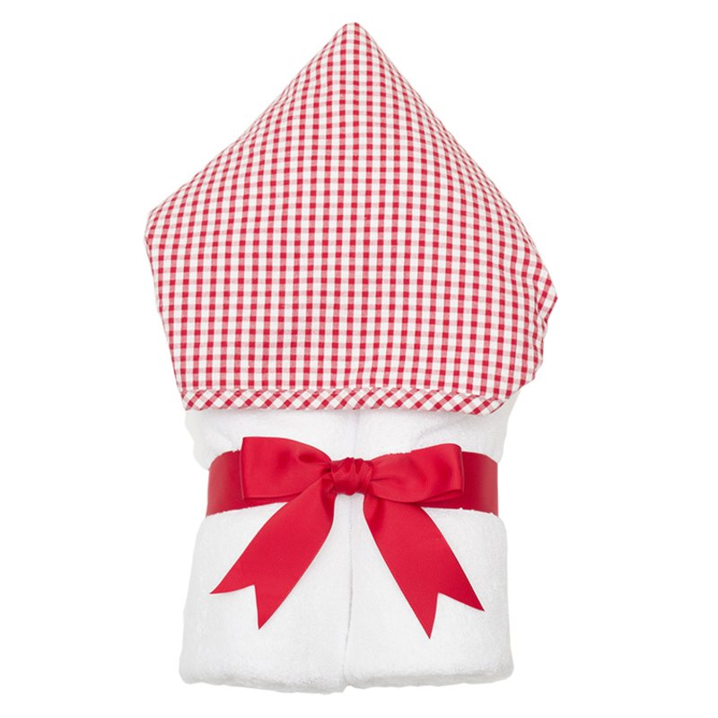 Red Check Everykid Hooded Towel Red Check - Doodlebug's Children's Boutique