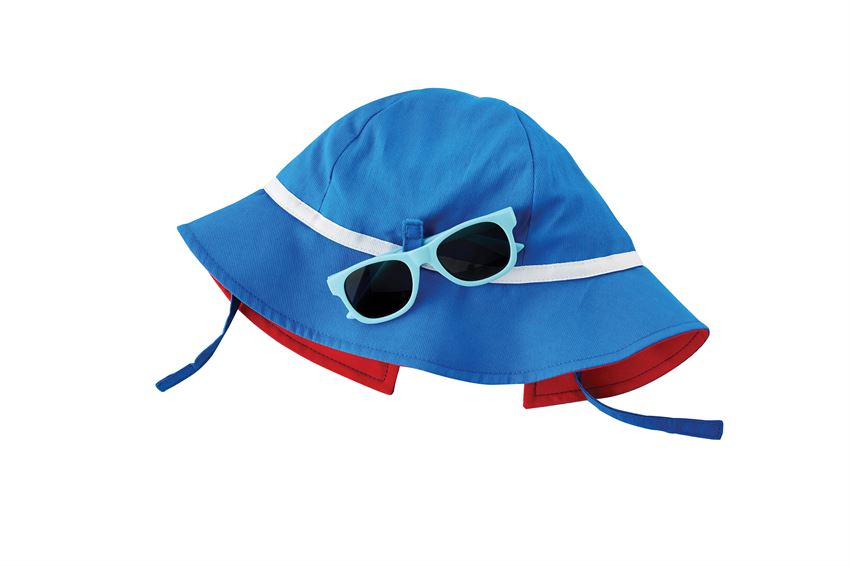 Sun Hat and Sunglasses Set in Blue and Red  - Doodlebug's Children's Boutique
