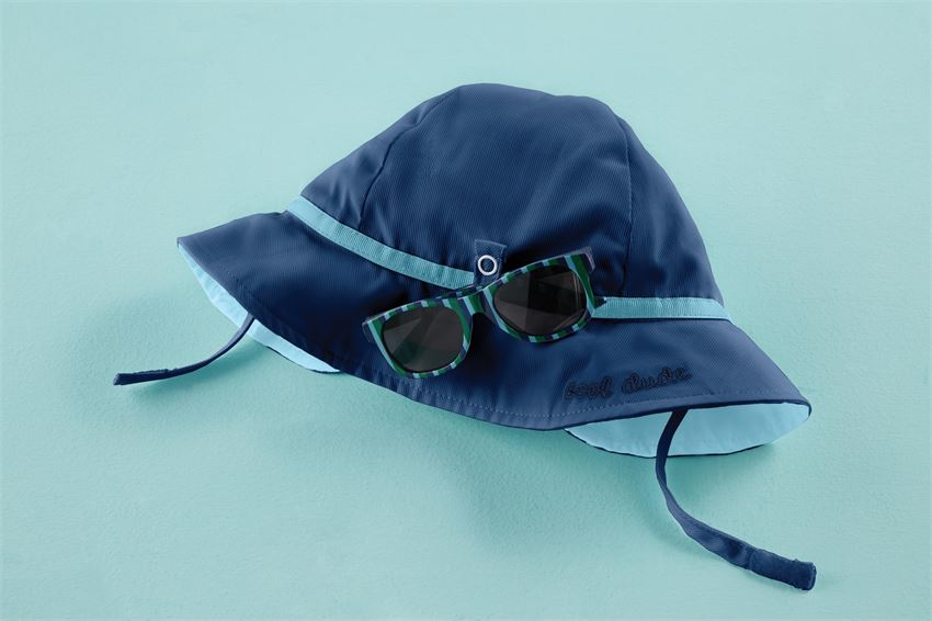 Sun Hat and Sunglasses Set in Navy and Teal  - Doodlebug's Children's Boutique