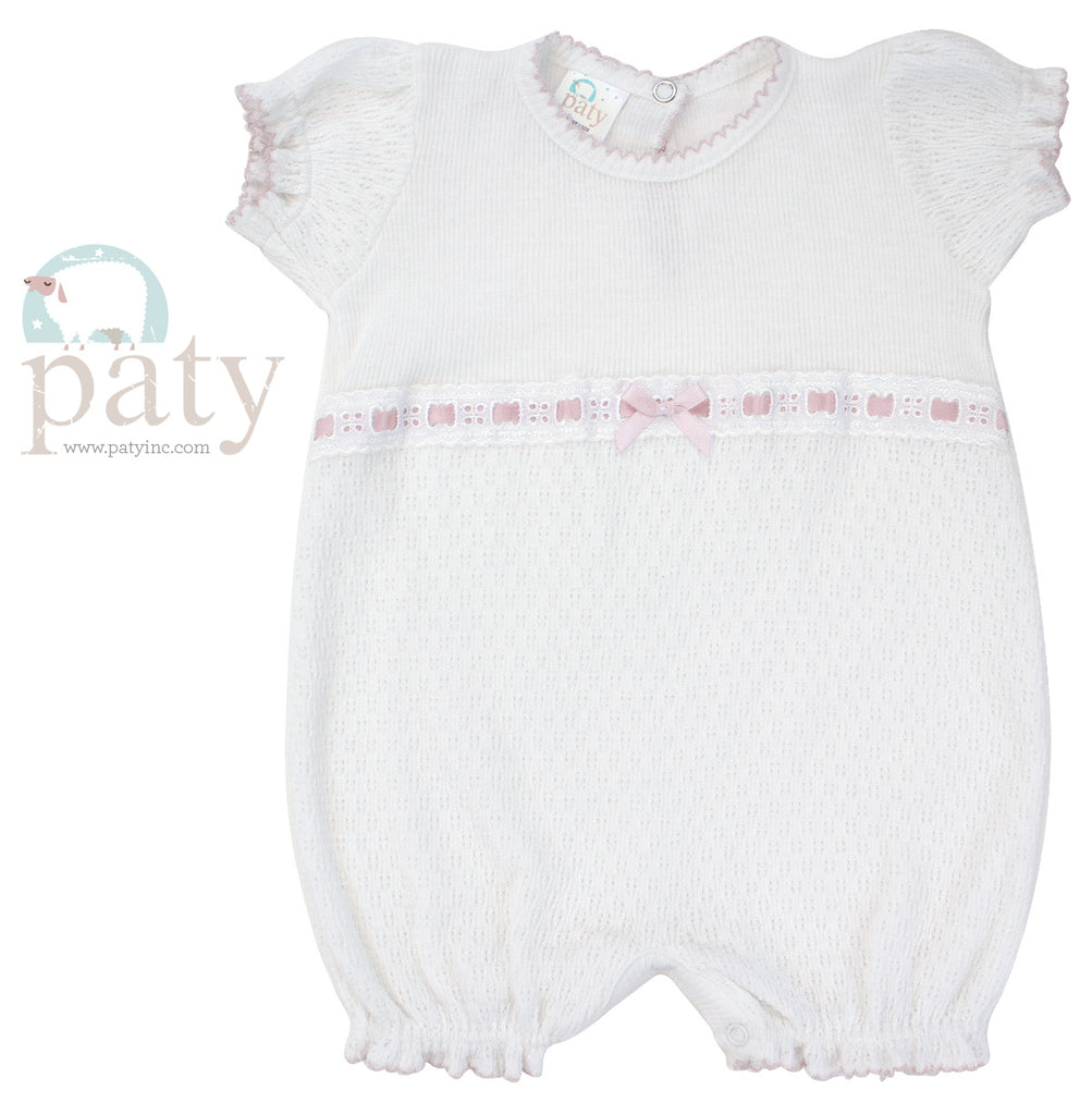 White Bubble with Pink Eyelet Trim Newborn - Doodlebug's Children's Boutique