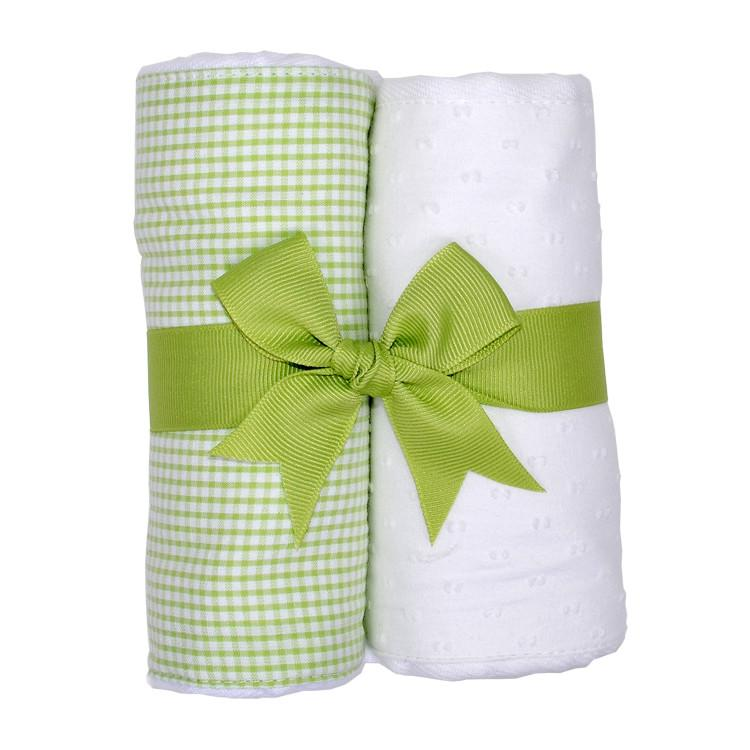 Green Gingham and White 2 Pack Burp Pad Set Green Gingham and White - Doodlebug's Children's Boutique