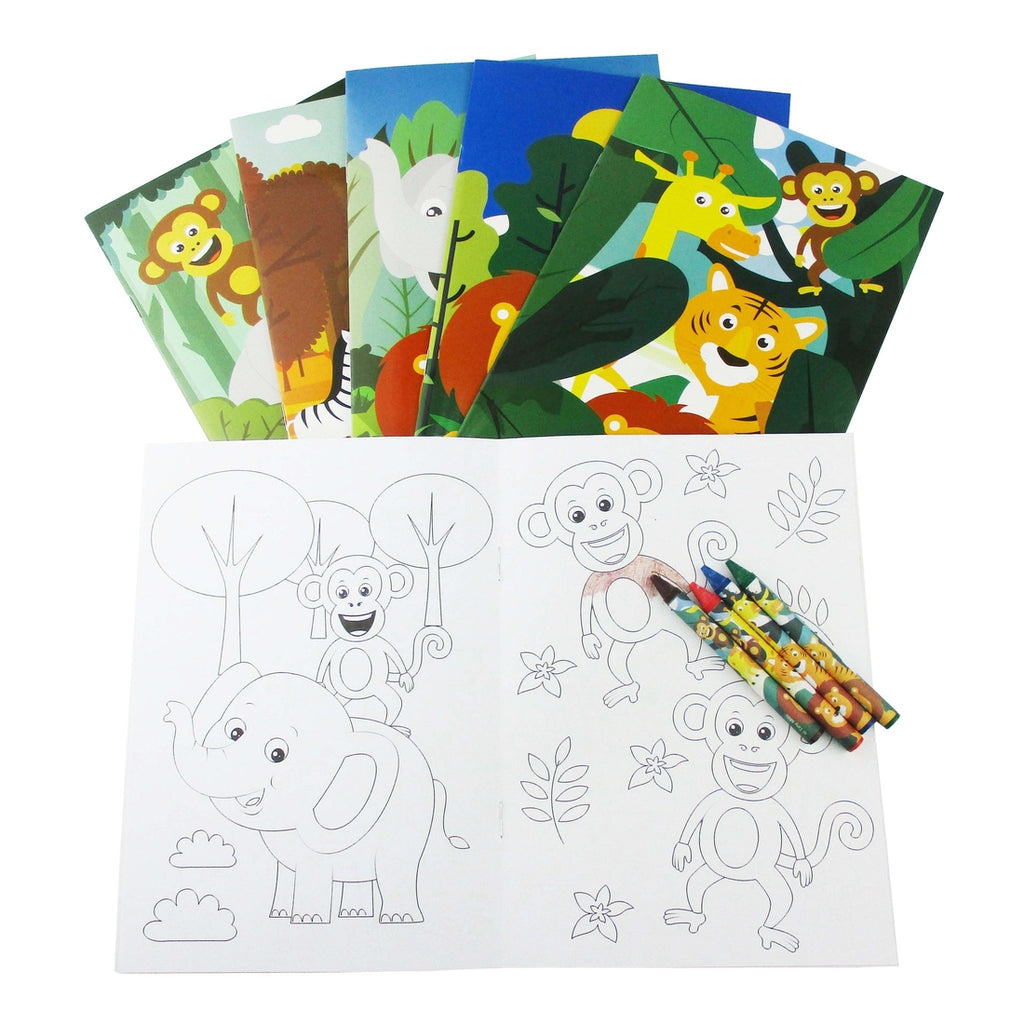 Jungle Safari Coloring Book with Crayons  - Doodlebug's Children's Boutique