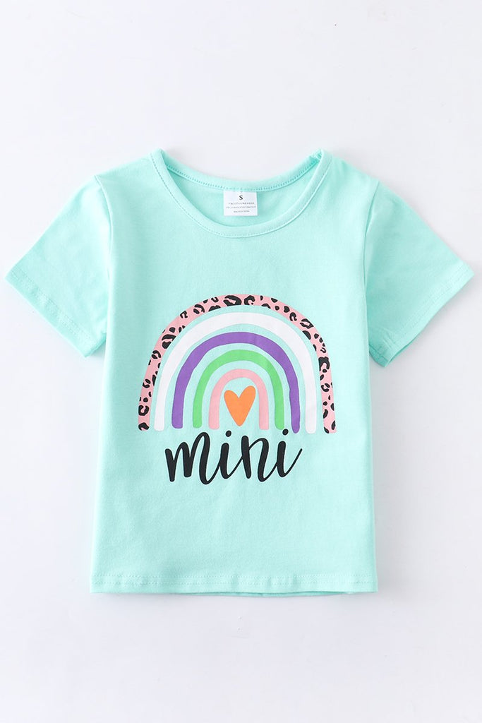Mint Rainbow Mini Tee  - Doodlebug's Children's Boutique